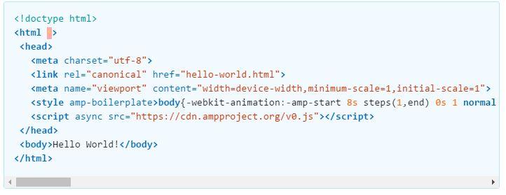 Voorbeeld van AMP html