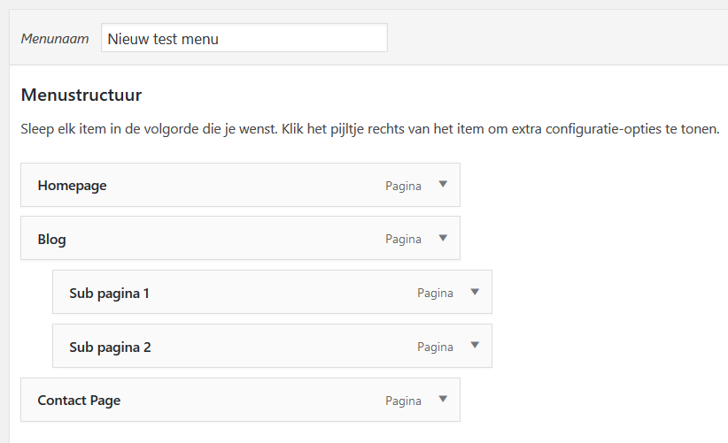 Wordpress menu maken