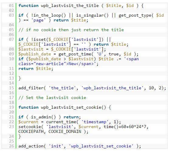 Code blogpost markeren als nieuw
