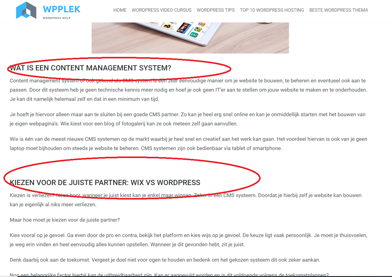wat is een heading in wordpress